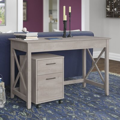 Bush Furniture Key West Writing Desk with 2 Drawer Mobile Pedestal (Set of 2)