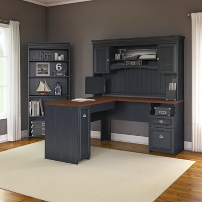 Bush Furniture Fairview Desk with Hutch and 5 Shelf Bookcase