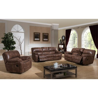 AC Pacific Leighton 3 Piece Reclining Living Room Set