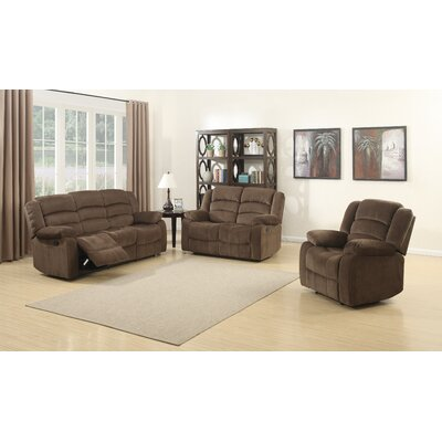 AC Pacific Bill 3 Piece Reclining Living Room Set