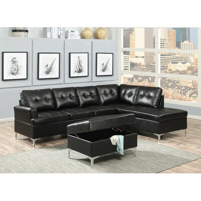 AC Pacific Mila Leather Sectional with Ottoman