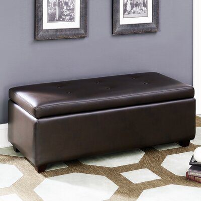 AC Pacific Contemporary Button Tufted Storage Leather Ottoman