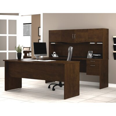 Bestar Harmony U-Shape Computer Desk with Hutch
