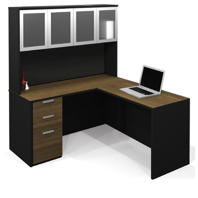 Bestar Pro-Concept L-Shape Desk Office Suite with Hutch