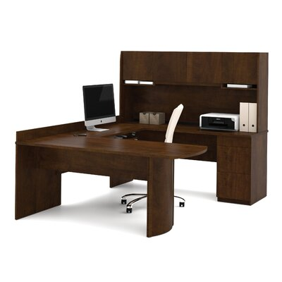 Bestar U-Shape Computer Desk with Hutch