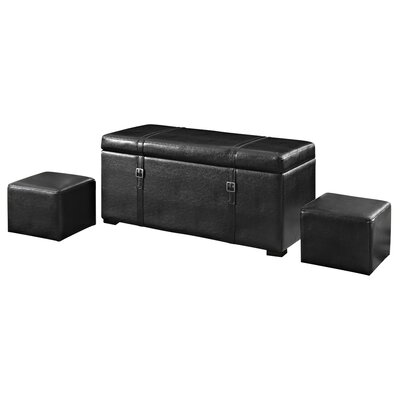 Simpli Home Dorchester 5 Piece Leather Ottoman Set