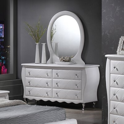 House of Hampton 6 Drawer Dresser with Mirror