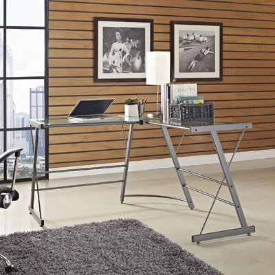 Altra Furniture Glass L Shaped Writing Desk