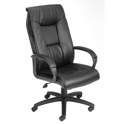 Boss Office Products Pillow Top Design High-Back LeatherPlus Executive Chair