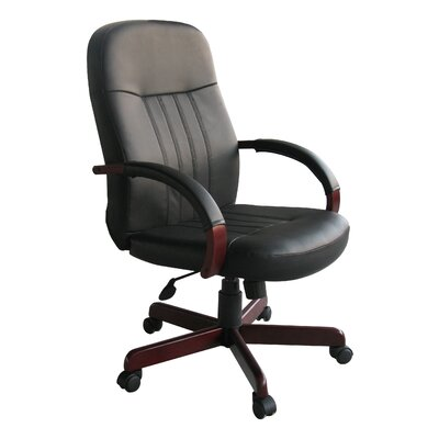 Boss Office Products High-Back Leather Executive Chair with Hardwood Arms