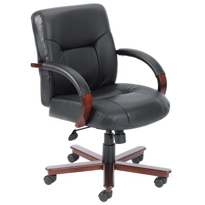 Boss Office Products Mid-Back Italian Leather Conference Chair