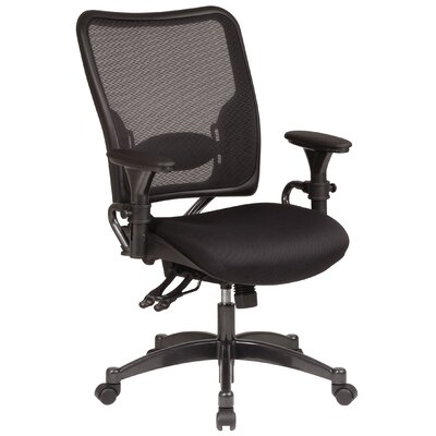 Office Star Products SPACE Dual Function Mid-Back Leather Managerial Chair with Arms