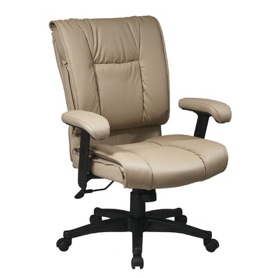 Office Star Products Deluxe Mid-Back Leat..