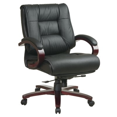 Office Star Products Deluxe Mid-Back Leather Conference Chair with Arms