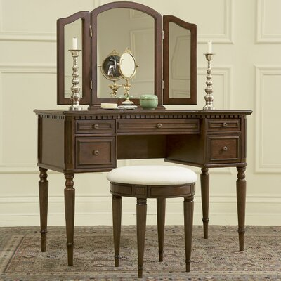 Powell Furniture Warm Cherry Vanity Set w..