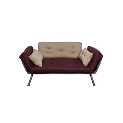 Elite Products Mali-Flex Multi-Positional Twin Futon - Aubergine/Caper