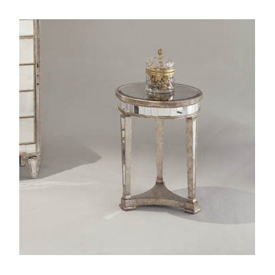House of Hampton Sandbach Mirrored Round End Table in Antique Silver