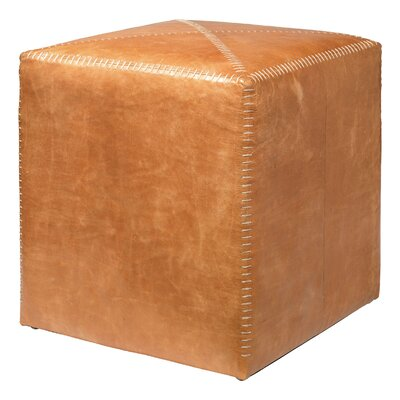Jamie Young Company Buff Leather Cube Ottoman