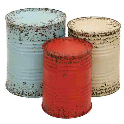 August Grove Eura 3 Piece Metal Drum Table Set