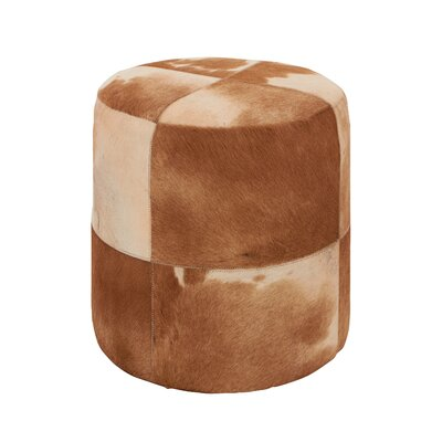 Woodland Imports Attractive Leather Round Ottoman