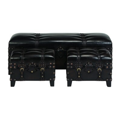Woodland Imports 3 Piece Leather Bedroom Bench Set