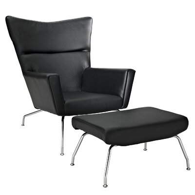 Modway Class Leather Lounge Chair and Ottoman