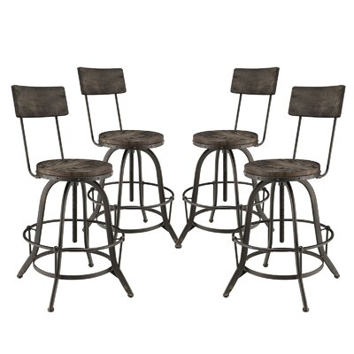 Modway Procure Adjustable Height Swivel Bar Stool (Set of 4)