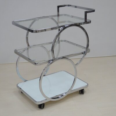 Latitude Run Kitchen Cart with Glass Top