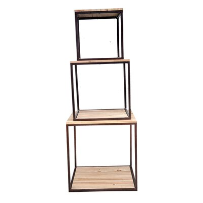 WaldImports Weathered 3 Piece Display Cube Unit Bookcase