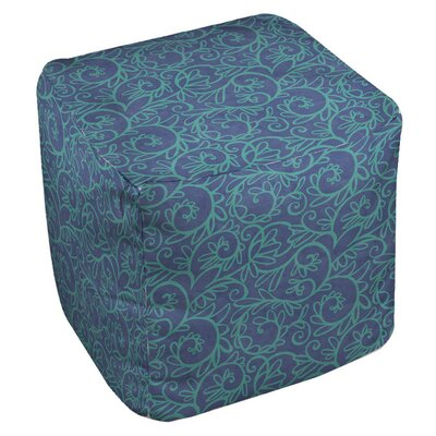 Manual Woodworkers & Weavers Funky Florals Swirl Pattern Ottoman