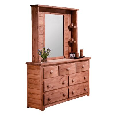Chelsea Home 7 Drawer Double Dresser with Mirror Hutch
