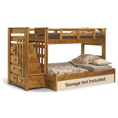 Chelsea Home Twin Over Full Bunk Bed with Stairway Chest