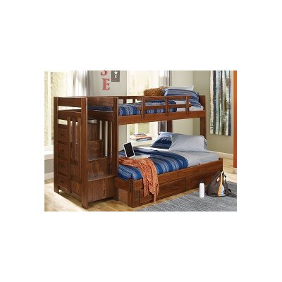 Chelsea Home Twin Over Full Bunk Bed with Reversible Stairway and Under Storage