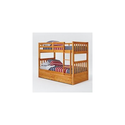 Chelsea Home Mission Twin Over Twin Bunk Bed with Under Storage and Ladder