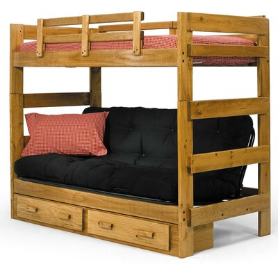 Chelsea Home Twin Futon Bunk Bed with Storage