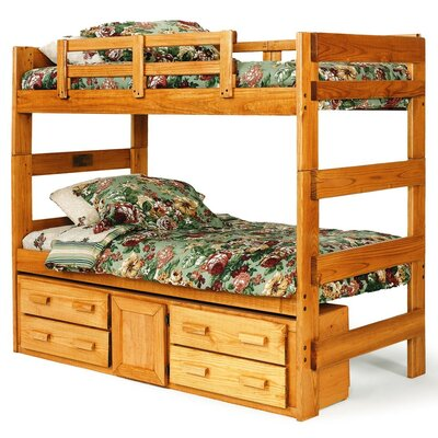 Chelsea Home Extra Tall Twin over Twin Bunk Bed with Storage