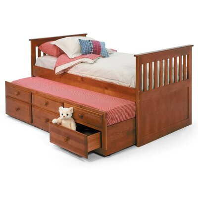 Chelsea Home Twin Slat Bed with Trundle and Storage