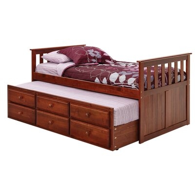 Chelsea Home Twin Captain Bed with Trundle and Storage