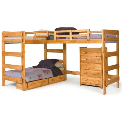 Chelsea Home Twin L-Shaped Bunk Bed Customizable Bedroom Set