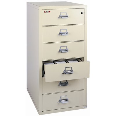 FireKing Fireproof 6-Drawer Card, Check and Note Vertical File