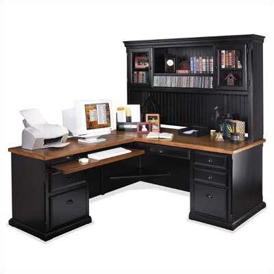 kathy ireland Home by Martin Furniture Southampton Onyx L-Shape Executive Desk with Hutch