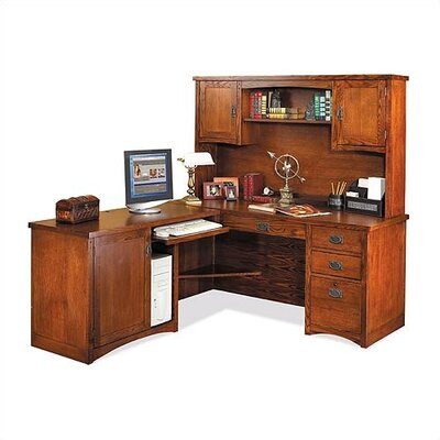 kathy ireland Home by Martin Furniture Mission Pasadena L-Shape Executive Desk with Hutch