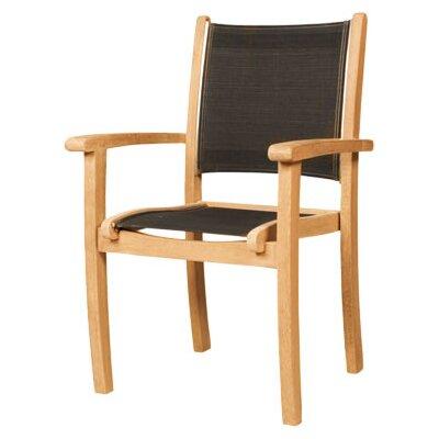HiTeak Furniture Stacking Armchair with Textilene (Set of 4)