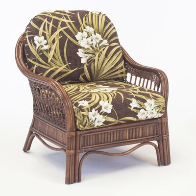 South Sea Rattan Bermuda Jasmine Antique Stripe Armchair