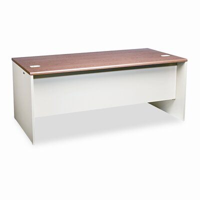 HON 38000 Series Left Pedestal L-Workstation Desk, 72w x 36d x 29-1/2h, Med Oak