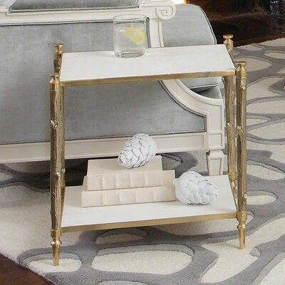 Global Views Arbor Side Table in Brass and White Marble
