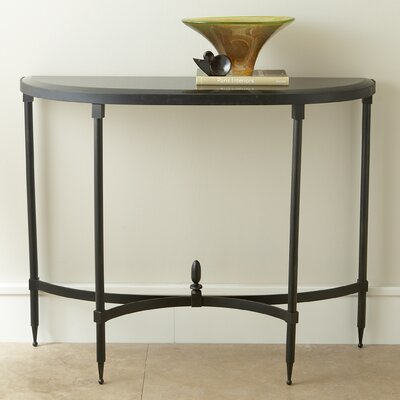 Global Views Fluted Iron Console Table with Granite Top