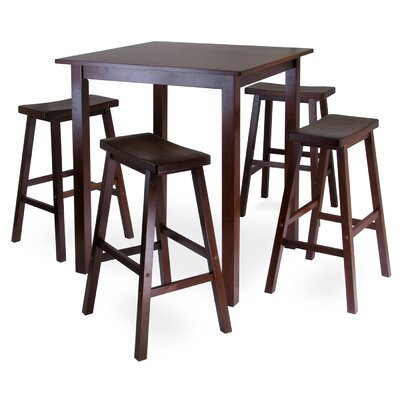 Red Barrel Studio Auburn Road 5 Piece Dining Set with 4 Saddle Seat Stools