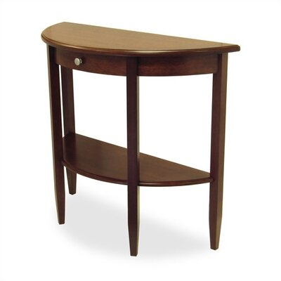 Winsome Walnut Half Moon Console Table