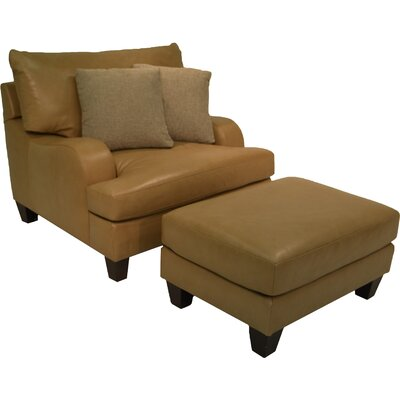 Bernhardt Brooke Leather Arm Chair and Ottoman
